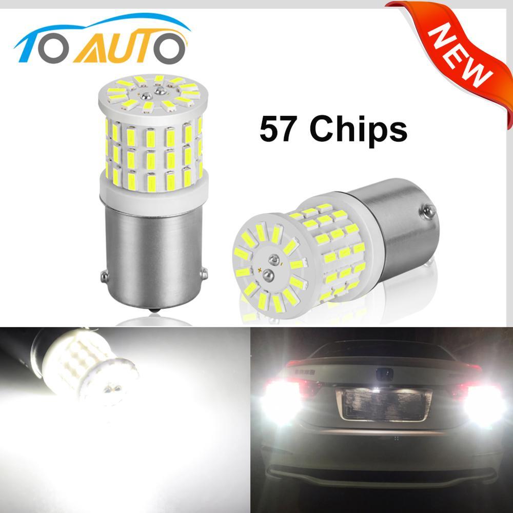 Новые светодиодные лампы 1156 BA15S P21W LED 1157 BAY15D P21/5W R5W, цвет-белый, 12 В, 2 шт.
