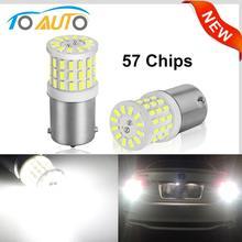 Luces LED de freno para intermitente de coche, lámpara blanca de 1200LM, 12V, BA15S P21W 1156 BAY15D P21/5W, 2 uds., novedad de 1157