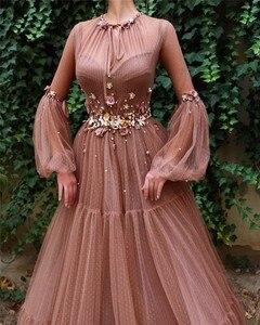 Image 2 - Румяна мусульманские вечерние платья а силуэта с длинным рукавом цветы тюль исламский дубай кафтан саудовский арабский элегантные длинные вечерние платья