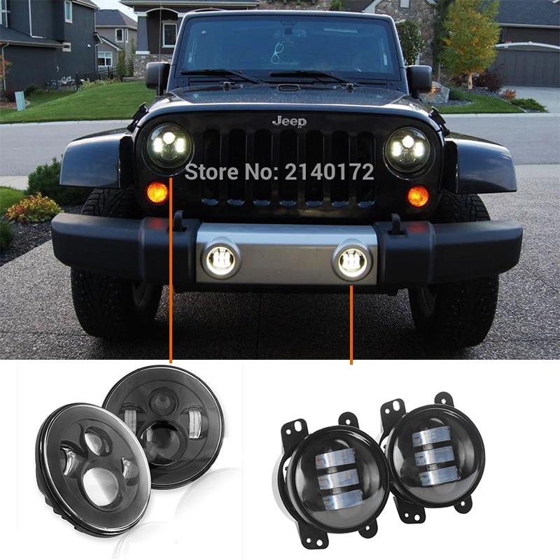 DOT утвержден 7 черный Daymaker светодиодные фары пара + 4 дюйма 30W светодиодные противотуманные фары для Jeep Вранглер JK и TJ CJ может водить авто фар
