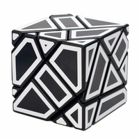 M Series Ghost Cube 3x3 Black Labels White Body Stickers Fidget Cube