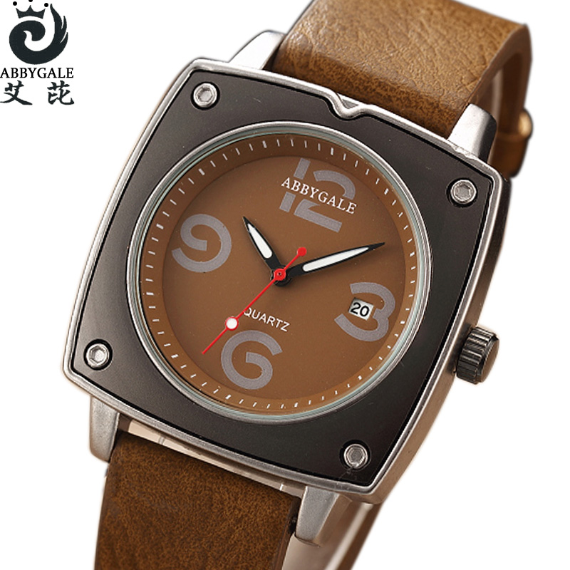 Square Unisex Watch Creative Watches 2017 New Fashion Date Dress Sports Leather Quartz Wrist Watch Mens