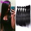 Peruvian Virgin Hair With Closure 4 Bundles With Lace Closures 7A Best Human Hair With Closure Straight Virgin Hair With Closure