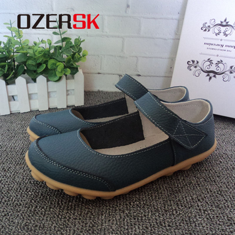 OZERSK Brand Summer Soft Comfortable Split Leather Woman Flats Shoes Leisure Ballet Footwear Hollow Out Shoes
