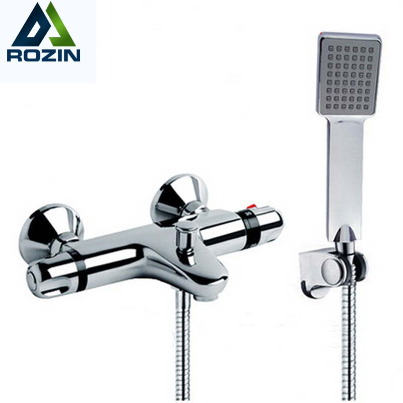 Modern Thermostatic Shower Mixer Faucet Wall Mounted Temperature Control Handheld Tub Shower Faucet Chrome Finish