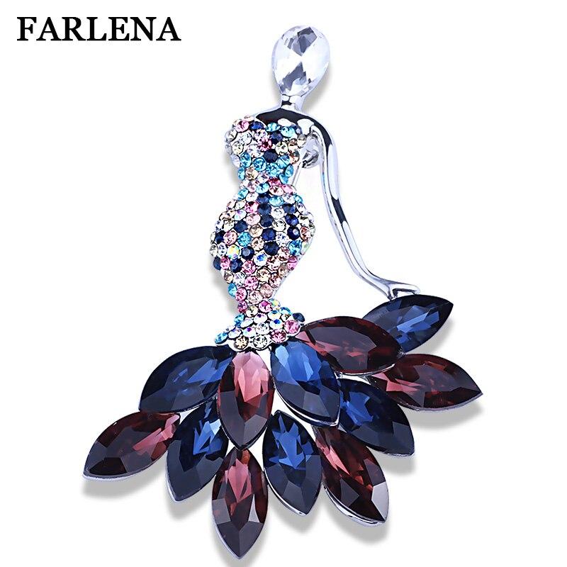 FARLENA Jewelry Pretty Crystal Fairy Brooches for women Fashion Rhinestones Brooch Craft Collar Clips