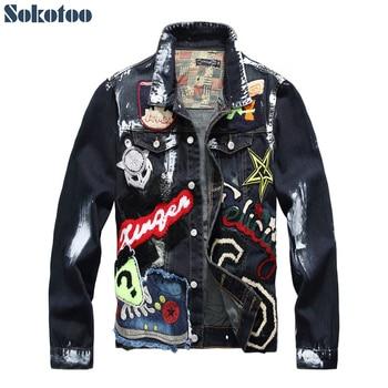 Sokotoo Men's badge patches painted blue black denim jacket Trendy beauty patchwork long sleeve coat Outerwear