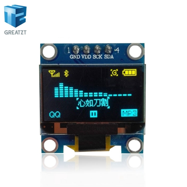 US $1 5 6% OFF|0 96 inch IIC Serial Yellow Blue OLED Display Module 128X64  I2C SSD1306 12864 LCD Screen Board GND VCC SCL SDA 0 96