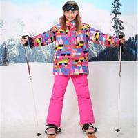 30 Degree Winter Girls Snowboard Ski Suits Children Outdoor Waterproof Windproof Thicken Jacket Pants Kids Clothes Set
