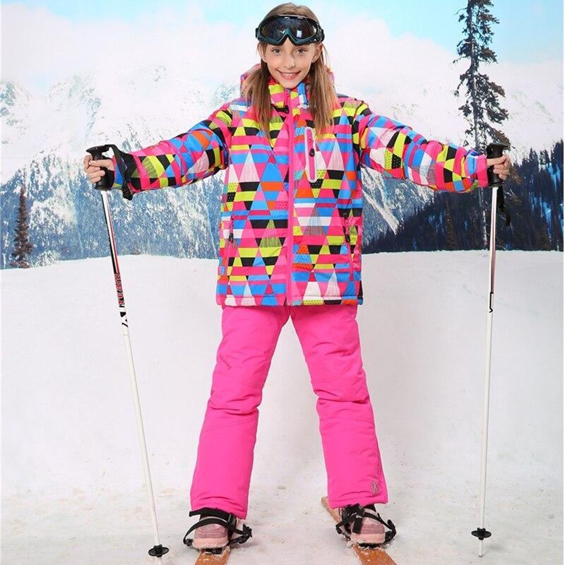 -30 degrés hiver filles Snowboard Ski costumes enfants en plein air imperméable coupe-vent épaissir veste pantalon enfants vêtements ensemble