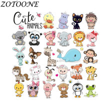 ZOTOONE DIY Cute Animal Combination Tiger Iron on Patches for Clothing Bag Custom Heart Transfers Patch Applique Kid Clothes E