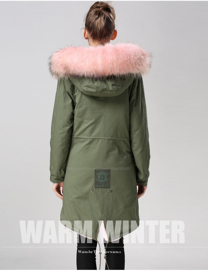 Factory wholesale price Women's Vintage Retro Fur Hooded Military Parka Jacket Coat with pink lined and collar fur mr 31
