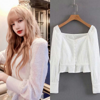 kpop Blackpink lisa same white Harajuku style temperament long sleeved Chiffon shirt women summer Fresh sweet lotus leaf blouse