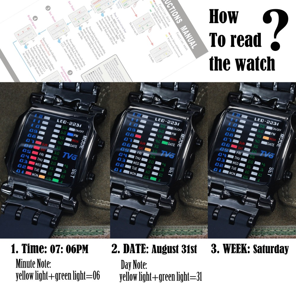2018 new brand TVG Rubber Band waterproof cool geek LED Digital Sports Watches Black Men Luxury Fashion Binary Gift Clock Watch  3