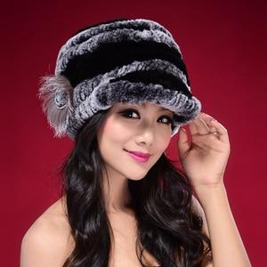 Image 1 - Factory Direct Hot Sale Caps For Women Real Rex Rabbit Fur Hats Genuine Knitted Rex Rabbit Fur Beanies Skullies DL6249