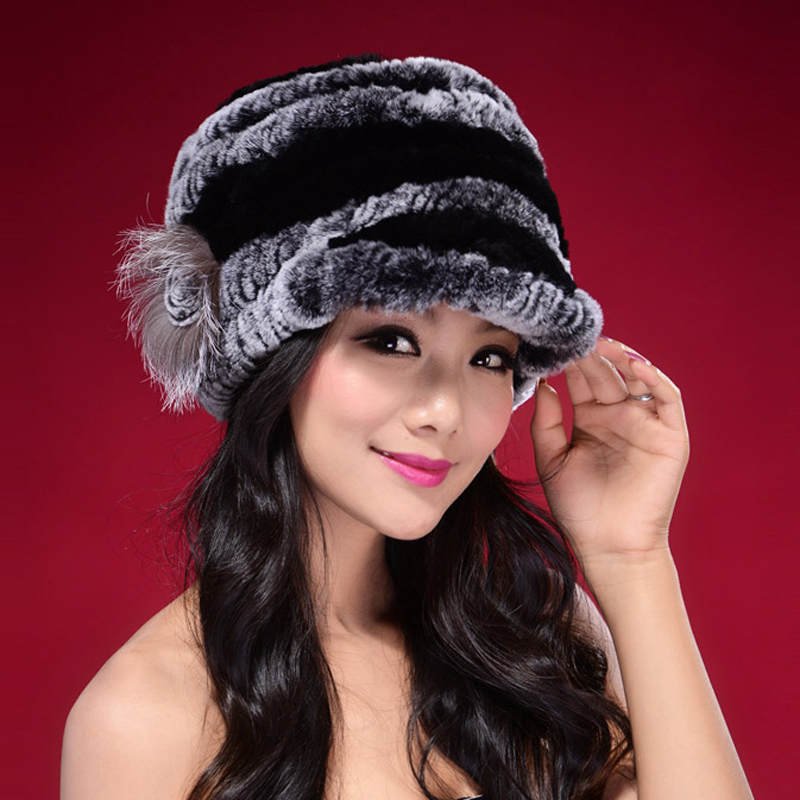 Factory Direct Hot Sale Caps For Women Real Rex Rabbit Fur Hats Genuine Knitted Rex Rabbit Fur Beanies Skullies DL6249