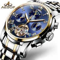 AESOP Automatische Mechanische Uhr Männer Luxus männer Handgelenk Uhren Armbanduhr Wasserdicht Skeleton Männlichen Uhr Männer Relogio Masculino