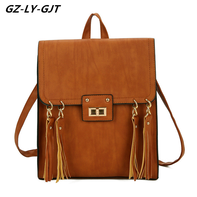 GZ LY GJT Vintage Women s PU Leather Backpacks Female Fashion Casual Girls Designed Brand Cute