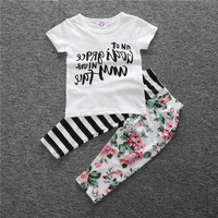 Cute Baby Girls Outfits 2017 Floral Newborn Toddler Infant 2pcs Clothes Suits White Cotton Short Sleeve