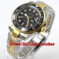 Bliger 40 мм черный циферблат GMT черный керамический Безель золотые боковые ракушки стальной-Золотой ремешок автоматические мужские часы