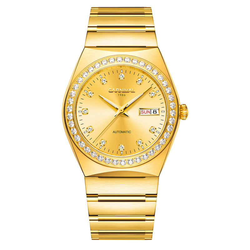 Carnival Automatic Watch Men Diamond Golden Mechanical Clock Mens Watches Top Brand Luxury Wristwatch reloj hombreCarnival Automatic Watch Men Diamond Golden Mechanical Clock Mens Watches Top Brand Luxury Wristwatch reloj hombre