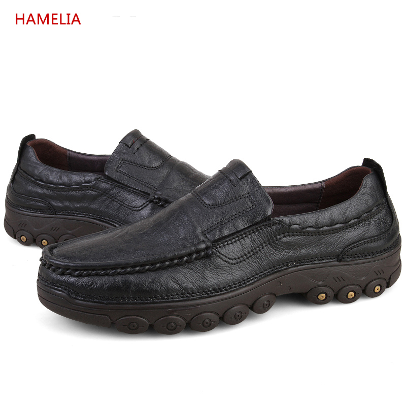 Hamelia Big size 47 Genuine Leather Men Casual fur Shoes Black Cow Leather Shoes Slip On Men lazyer Loafers Flats with plush 2017 big size 38 46 genuine cow leather shoes men slip on mens shoes casual flats men loafers moccasins warm plush winter shoes