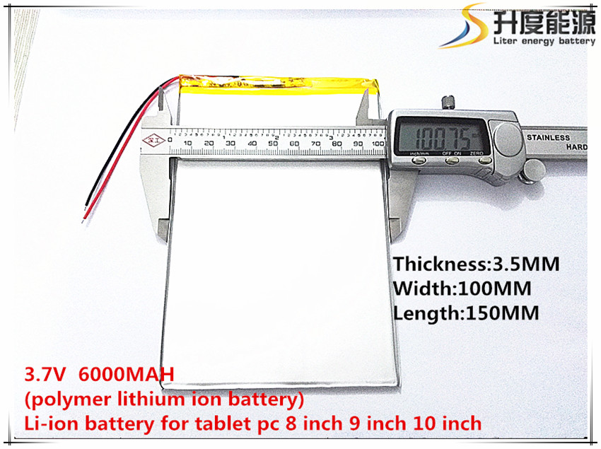 Free Shipping 1pcs 3.7V,6000mAH (polymer lithium ion battery) Li-ion battery for tablet pc 7 inch 8 inch 9inch 35100150