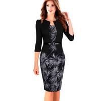 Kadın Faux Twinset Iş Resmi Ofis Suit Iş Elbisesi 3/4 Kollu Diz Boyu Kalem Bodycon Elbise