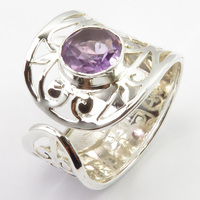 Solid Silver Real Amethysts Ring Size 9.25 Women Jewelry Unique Designed
