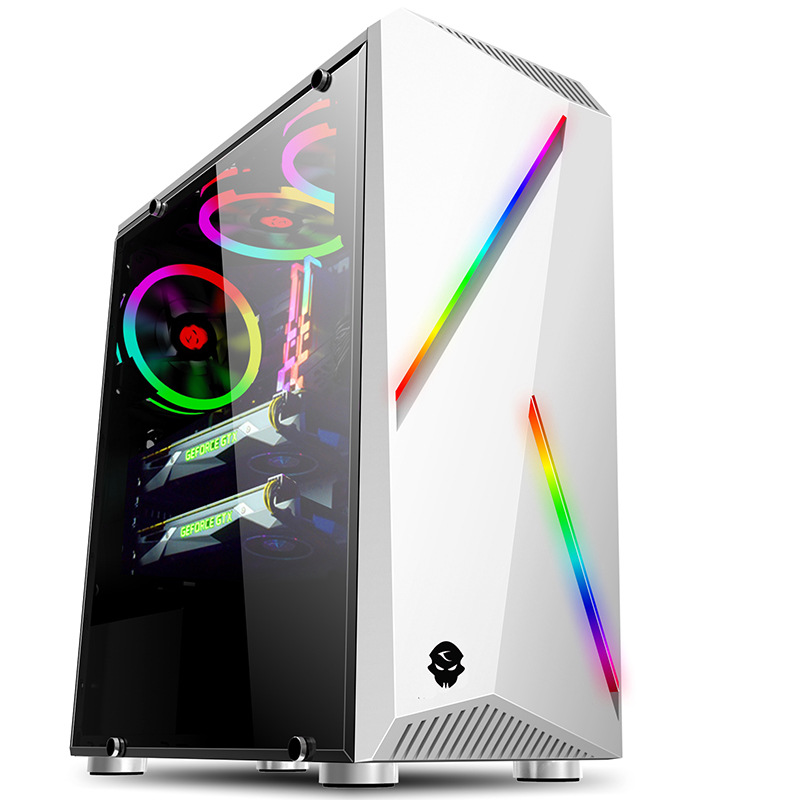 38*18*43.5cm Transparent Toughened glass ATX PC Computer gaming Chassis Case Tower RGB Double Light Strips gabinete computador