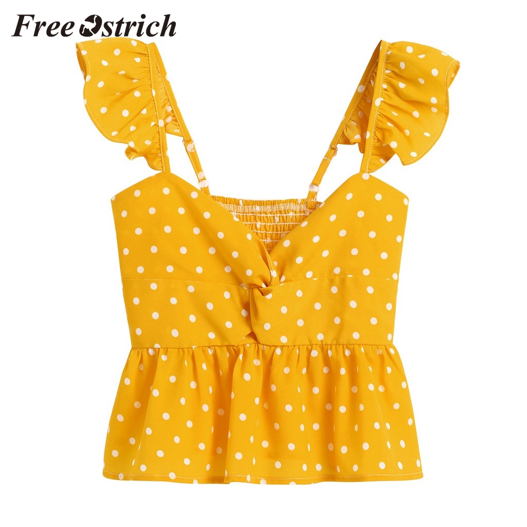 Free Ostrich Womens Tops And Blouses Women Floral Frill Trim Polka Dot Top Sleeveless Casual Chiffon Tank Yellow Sweet T-hirts