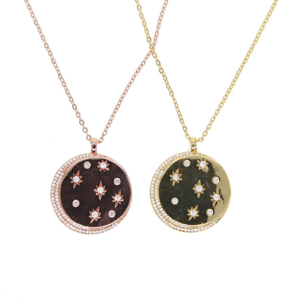 Jewelry & Accessories Top Quality Gold Filled Signet Cz Paved Moon Star Coin Pendant Necklace For Women Geometric Simple Classic Fashion Fine Jewelry