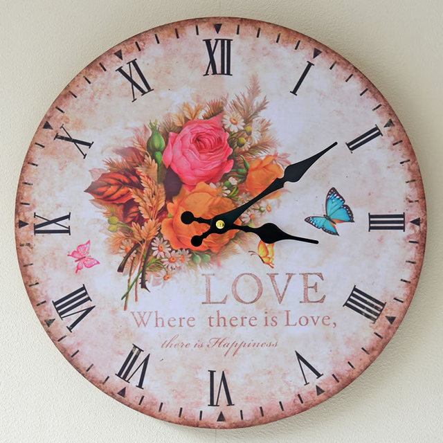 Home Decoration Printed Floriculture Rimless Wall Clock Beautiful Butterfly Mute Digital Clocks High Quality Density Board