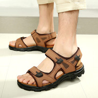 100% Genuine Leather  Plus Size 38-44 Men Sandals Fashion Summer Shoes Slippers Breathable Men's Sandals Causal Shoes Leather