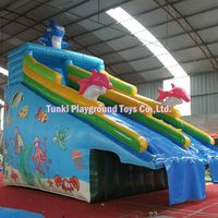 Hola cartoon inflatable water slide/ cheap inflatable slides/lovely painting themed slide