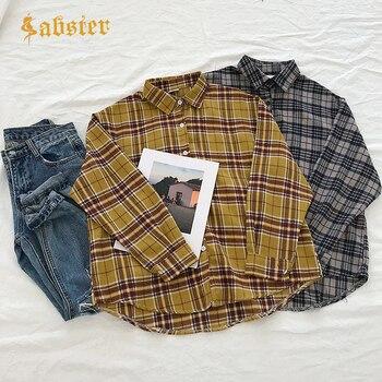 b0807d173d6 Product Offer. Для женщин модная универсальная клетчатая хлопковая рубашка  отложной воротник ...
