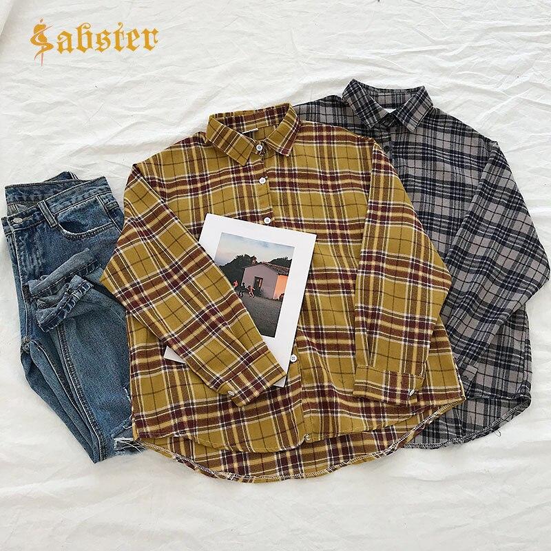 Women Fashion All-match Plaid Cotton Shirt Turn-down Collar Women Office Blouse Shirt Female Outerwear Casual Shirts kz718
