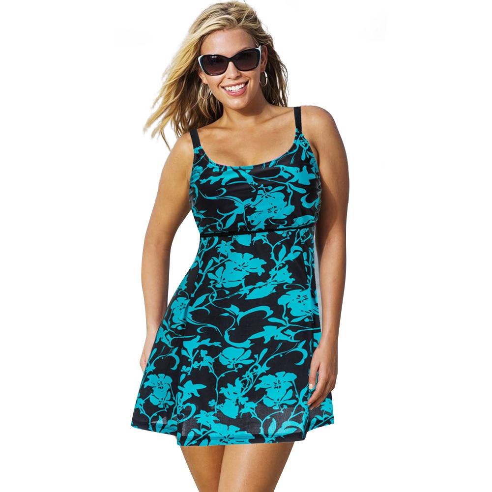 Plus Size Swimwear Women One Piece Swimsuit Skirt 2018 Vintage Print Bathing Suit Dress Monokini Large Size Swimwear Beach Wear plus size one piece woman swimsuit big size u shape back bathing suit skirt design rhinestones backless swimwear 4xl size