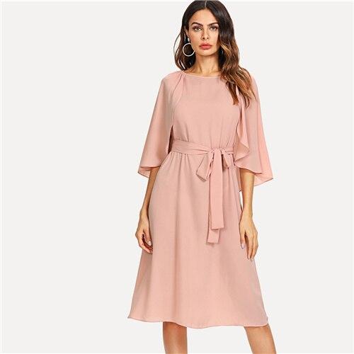 SHEIN Pink Elegant Cloak Sleeve Self Belted Knot Front Round Neck Natural Waist Knee Length Dress Summer Women Casual Dresses