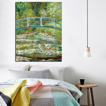 Bridge Over a Pond of Water Lilies by Claude Monet Printed on Canvas 2