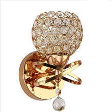 Crystal wall light Bedside Silver Gold ball crystal Wall Lamp 110V 220V sconce with pull switch Lights