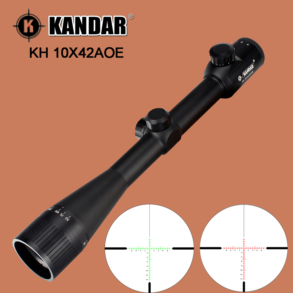 KANDAR 10X42AOE Hunting Rifle Scope Red Green Illumination Glass Etched Reticle Fixed Magnification Tactical Optics Sights 100% original professional powerful kandar 1 4x24e front glass partition optical sights rifle scope with free mounts
