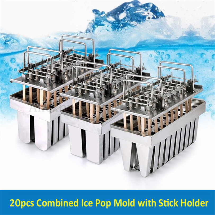 Stainless Steel Ice Pop Popsicle Moulds Commercial DIY Ice Cream Mold Brand New 20pcs/Batch Sticks Holder