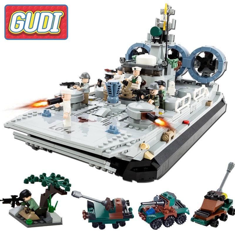 GUDI Marine Corps Air Cushion Ship Boat Set Model Action Building Blocks Bricks Educational Toys For Children Gifts 8 in 1 military ship building blocks toys for boys