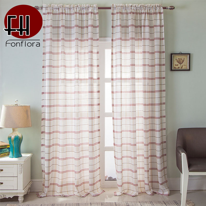 Striped Red Blue Plaid Tulle Curtains for Living Room Bedroom Modern Sheer Curtain Door Window Treatments Custom Size Panel