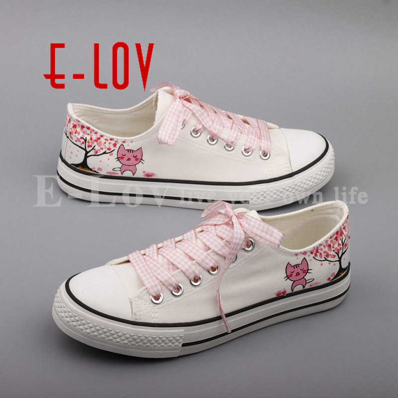 E-LOV Newest Fashion Graffiti Cats Flat Shoes Hand Drawing Animal Cat Casual Canvas Shoes For Women Couples zapatos mujer guess w0911l5