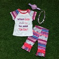 "2016 Summer BABY outfit girls cute purpel Aztec "" TA-DA"" outfit popular kids clothing  capri girls matching necklace and bow set"