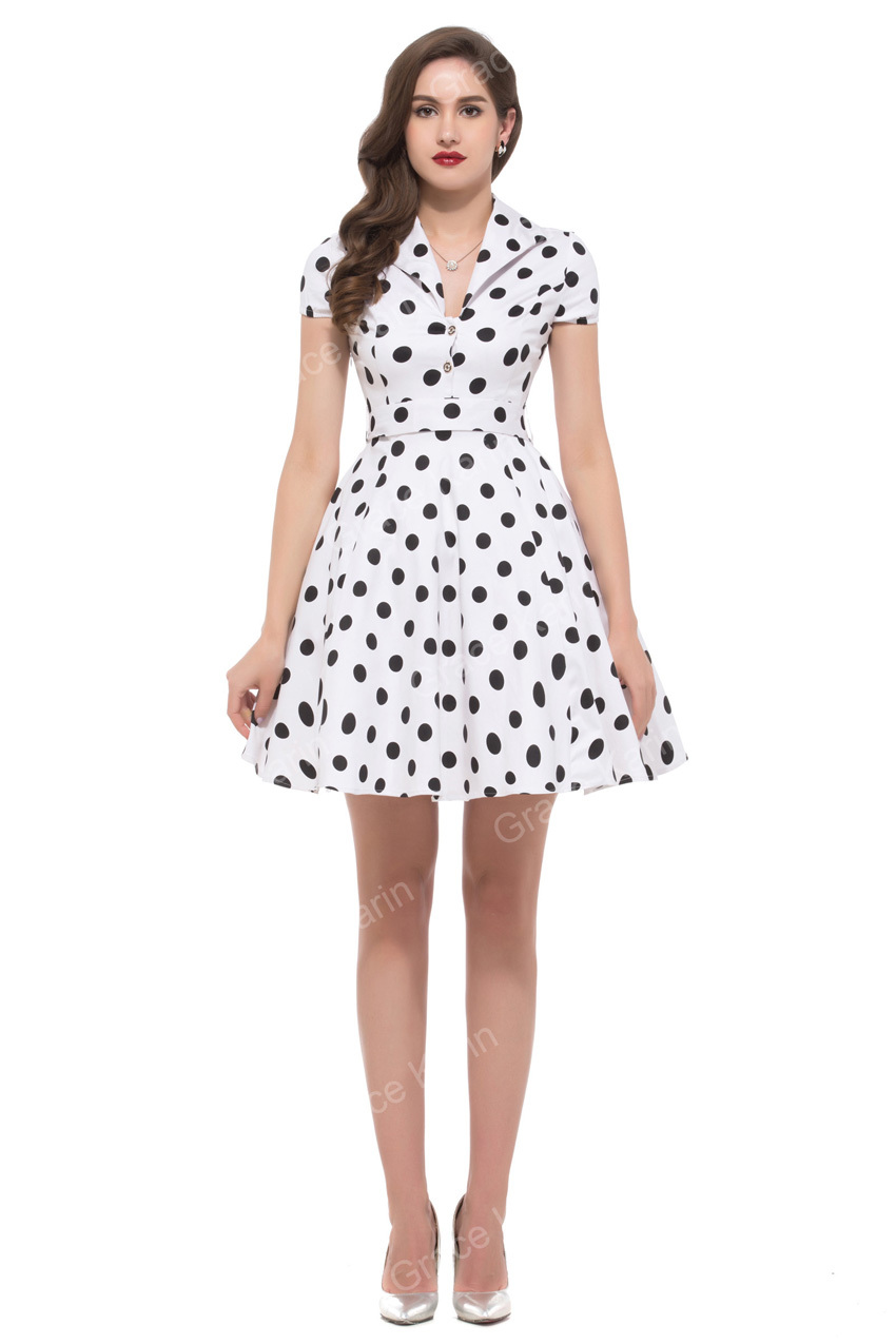 Vestido lunares blanco corto
