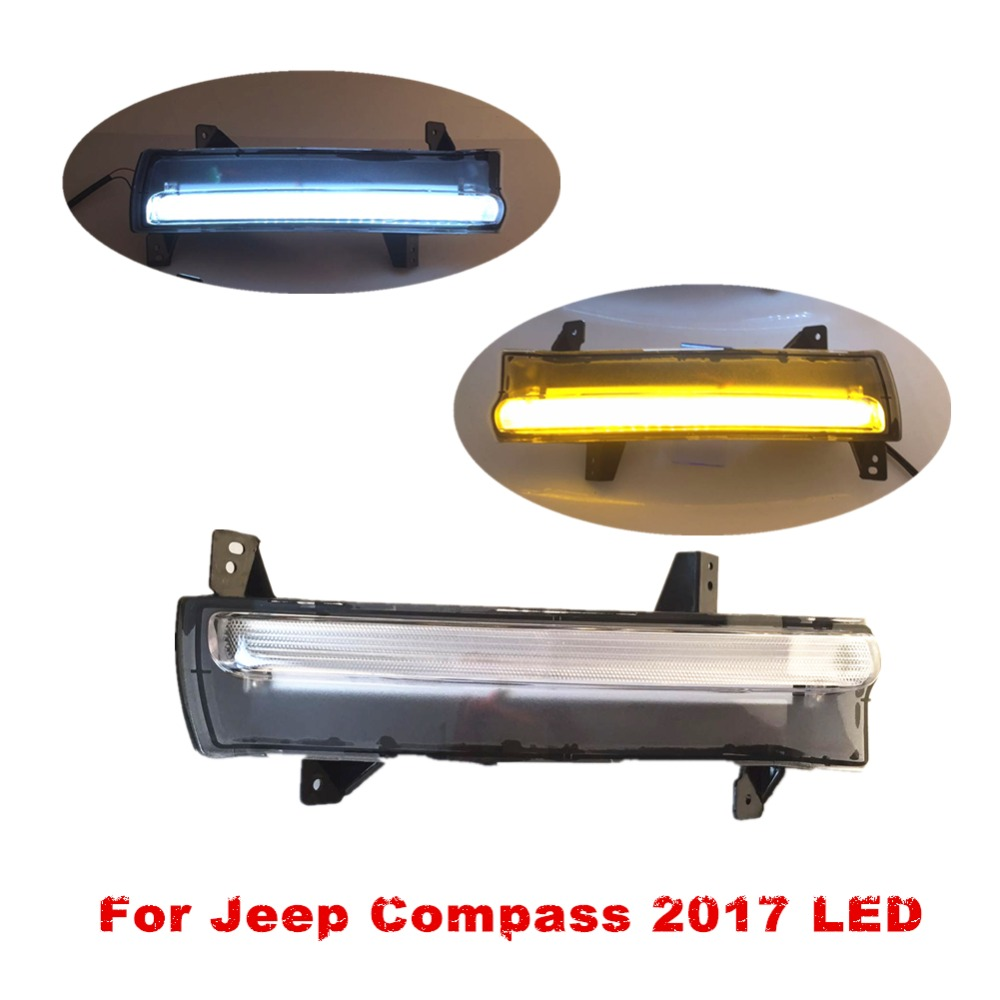 1 Set Car fog lamp LED Daytime Running Light For Jeep Compass 2017 DRL With Yellow Turn Singal Light