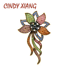CINDY XIANG Mix Color Rhinestone Flower Brooches For Women Large Fashion Elegant Brooch Pin Wedding Party Accessories Bag Pin cindy xiang purple color crystal flower large brooches for women autumn coat brooch pin elegant beautiful fashion jewelry new